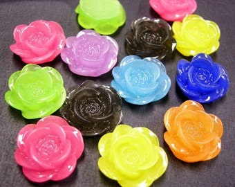 50% discount -12pc 19mm mix color resin flower cabochon-4485