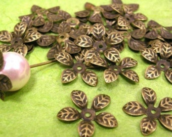 30pcs bendable antique bronze flower bead caps-374