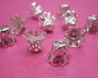 25pcs 8mm silver look filigree flower bead caps-247