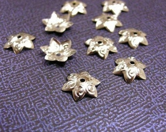 100pc 12mm nickel look metal bead caps-2434