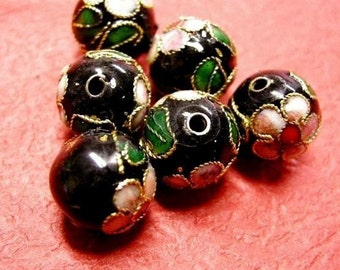 10pc 10mm round Cloisonne beads-666