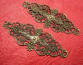 6pc antique bronze fancy filigree metal wraps-3425