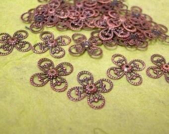 30pc antique copper 15mm flower bead cap-349