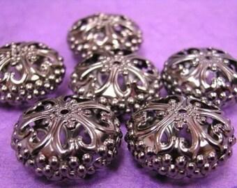 4pc gunmetal finish metal 23mm round flat beads-453