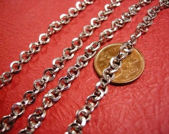 5 feet 5mm round link antique silver unsoldered chain-535A