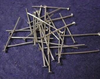 100pc nickel look 24mm gauge 20 head pins-717
