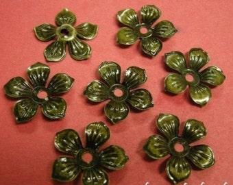 12pc 22mm antique bronze iron bead cap-1702