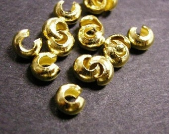 50pc gold finish 3.7mm crimp bead cover-1646
