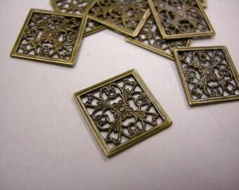 25pc 13mm antique bronze square filigree wraps-3754