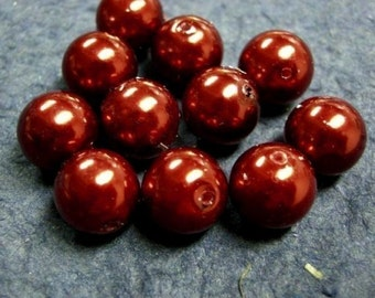 12pc 12mm glass pearl round beads-146A