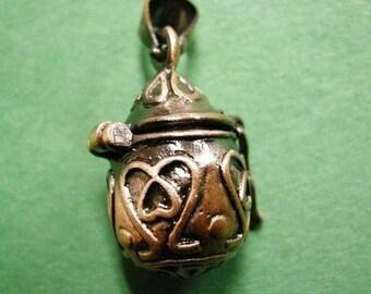2pc fancy antique copper metal prayer box pendant-3174