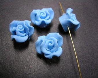 4pc Polymer Clay flower shape bead-2595