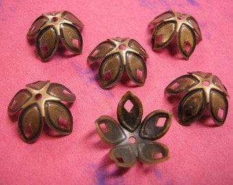 12pc 18mm antique copper metal flower bead cap-1744