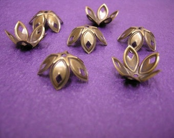 12pc 18mm antique bronze metal flower bead cap-1743