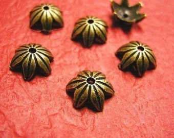 24pc 10mm antique bronze metal bead cap-3212x2