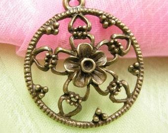 4pc antique bronze metal alloy pendant-3820