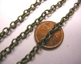 5 feet 5x4mm antique bronze cross chain-3630