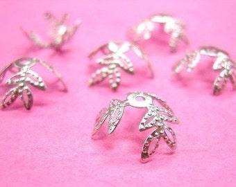 30 pieces bright silver finish filigree leaf bead caps-437