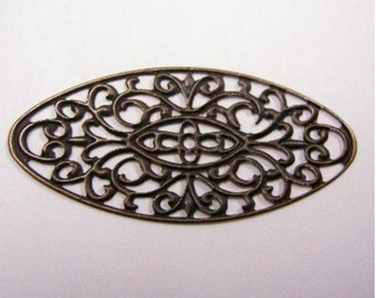 10pc antique copper filigree oval wraps-4134