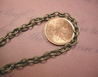 5 feet 5x4mm antique bronze cross chain-4023