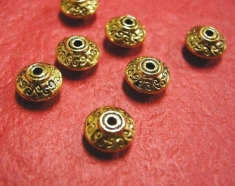 12pc 7mm antique gold metal spacer bead-3548