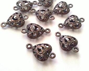 10pc antique copper filigree heart shape connectors-5155