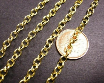 5 feet 5x4mm gold finish cross chain-2665