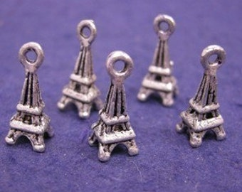 12pc antique silver plated metal tower charm-774