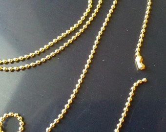 4 of 24 inches gold finish 1.5mm ball chain necklaces-5171