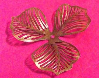 4pc 47mm antique bronze leaf shape bead caps-2860