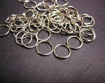 100pc 12mm nickel look jump rings gauge 18-765C