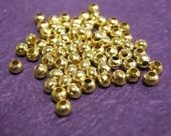 200pc 2mm gold finish metal round iron beads-1398