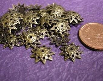 50pc 11mm antique bronze filigree bead caps-203