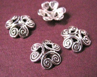 12pcs antique silver 12mm flower bead caps-1689