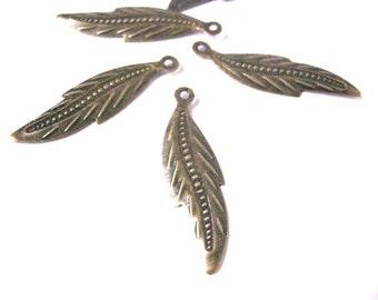 30pc antique bronze iron leaf pendant-1921