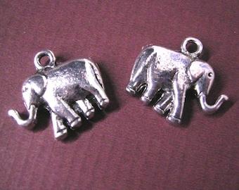 4pc antique silver metal elephant pendant-4255