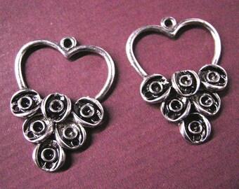 4pc antique silver chandelier component-5338