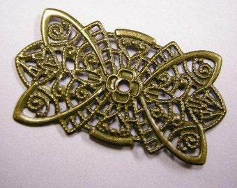 8pc 46X24mm antique bronze filigree wraps-4503