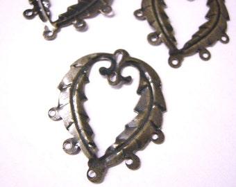 12pc 41x32mm antique bronze leaf shape connectors-128