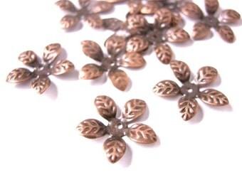 30pcs bendable antique copper flower bead caps-5352
