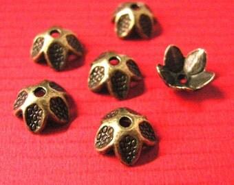 20pc 9mm antique bronze metal bead cap-5353