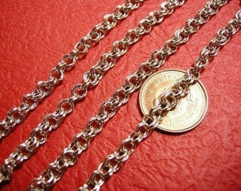 5 feet antique silver 4mm double link chain-2745