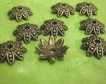 12pc 15mm antique bronze flower shape metal bead caps-1405