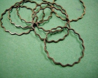 12pc 25mm antique copper flower smooth loop-1921B