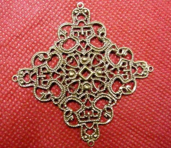 8pc antique bronze metal filigree center piece/wraps-2888