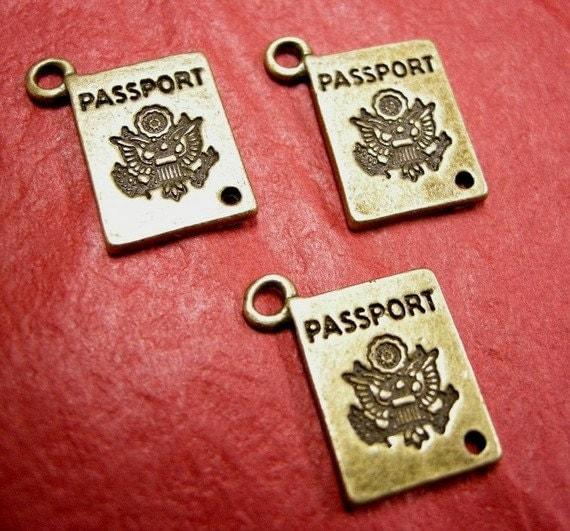 6pc antique bronze metal passport pendant-3792