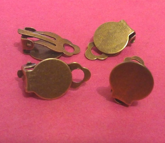 10pc 10x18mm antique bronze clip on earring settings-5033