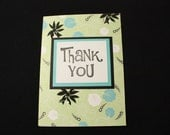 Teal and Black Flower- Thank You- Pack of 6 Cards