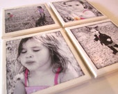 Personalized Custom Photo Coasters Set of 4 Black and white with an area of color, Sepia, Color - LeahMarieAccessories
