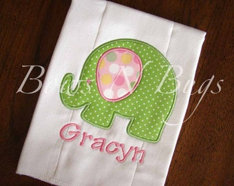 Cute Elephant Applique Burp Cloth With Monogram - Great Baby Gift